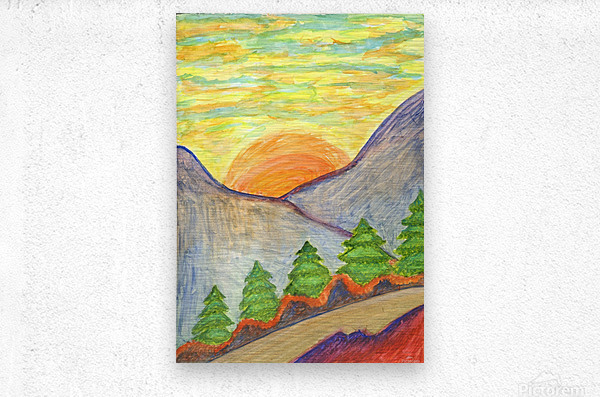 Winter solstice. Road to the mountains  Metal print