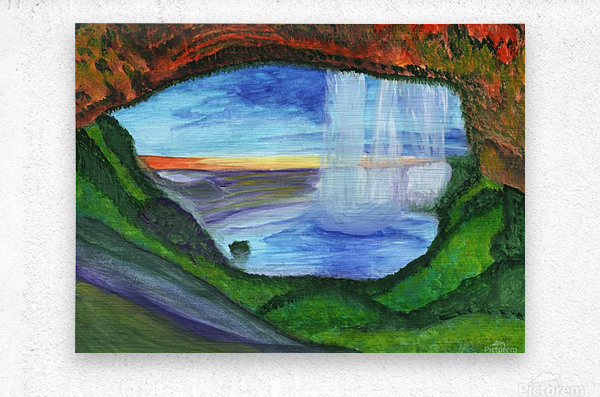 View from the cave to the waterfall  Metal print