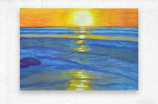 Sunset and ocean waves  Metal print
