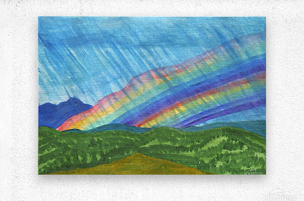 Double rainbow and rain in the mountains  Metal print