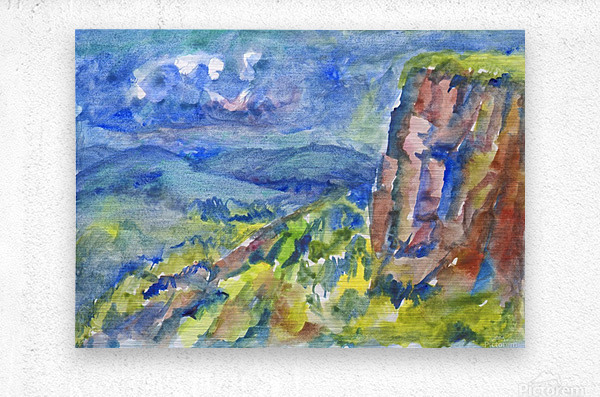 Summer landscape with cliff  Metal print