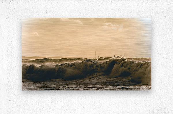 High seas and Light house  Metal print
