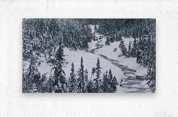 Frozen river.  Metal print
