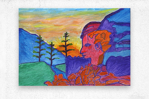 Mystical rock with a profile at sunrise  Metal print