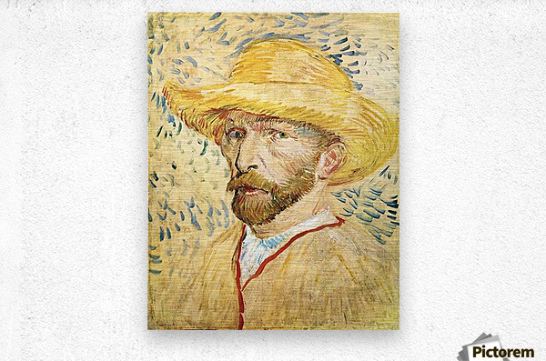 Self-Portait with straw hat by Van Gogh  Metal print