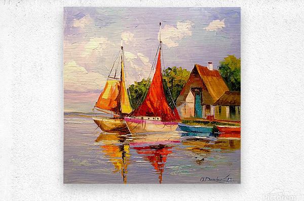 Sailboats near the shore  Metal print