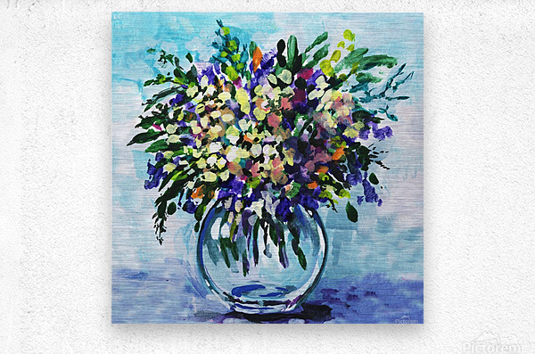 Impressionistic Flowers Burst Of Beauty  Metal print