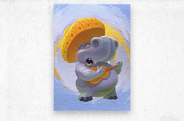 Hippopotamus mariachi  Metal print