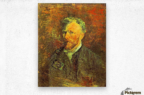 Self-portrait, with pipe, at a table by Van Gogh  Metal print