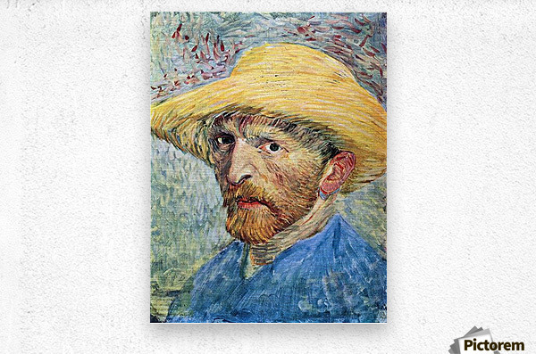 Self-portrait, with straw hat and blue shirt by Van Gogh  Metal print