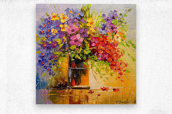 A bouquet of wild flowers  Metal print