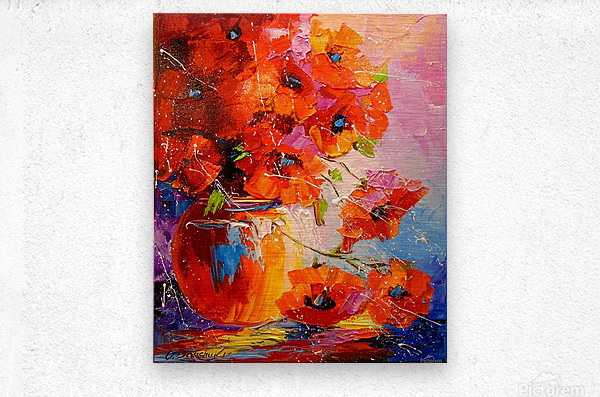 A bouquet of poppies  Metal print