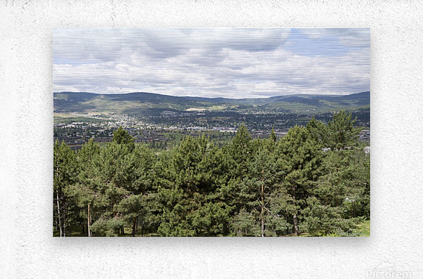 A view of Okanagan Lake and part of Kelowna from near the top of Mission Hill Road 3  Metal print