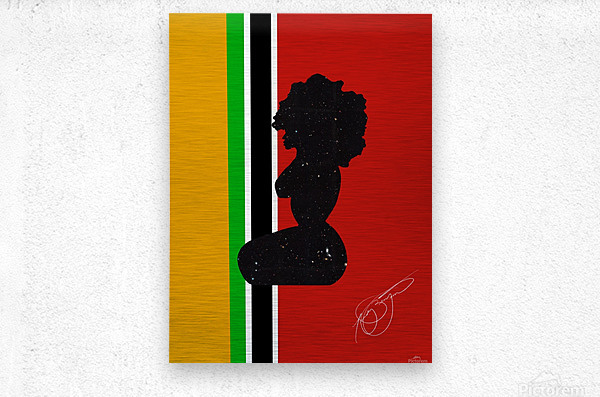 Afrocentric Woman Silhouette- African Flag  Metal print