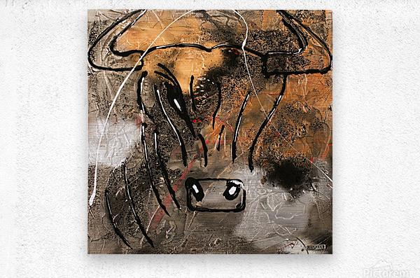 3754    gold bull  Metal print