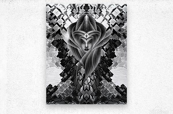 Mistress Of The Cuboid BW  Metal print