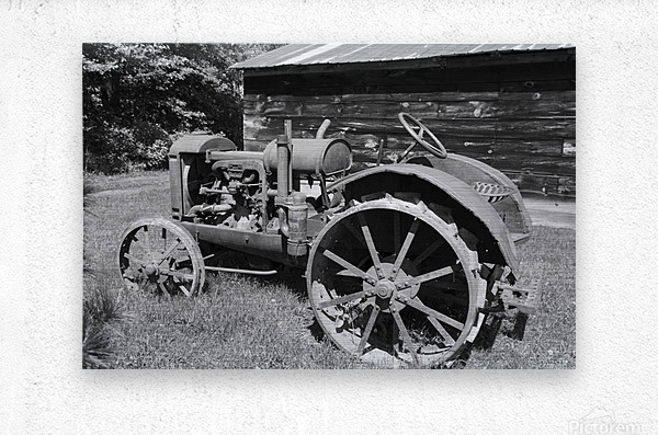 McCormick-Deering gasoline tractor 2 B&W  Metal print