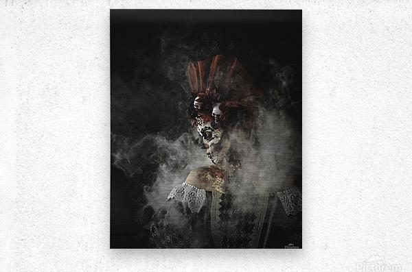Young girl in the image of Santa Muerte  Metal print