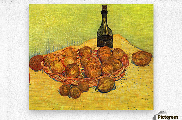 Still Life with Bottle, Lemons and Oranges by Van Gogh  Metal print