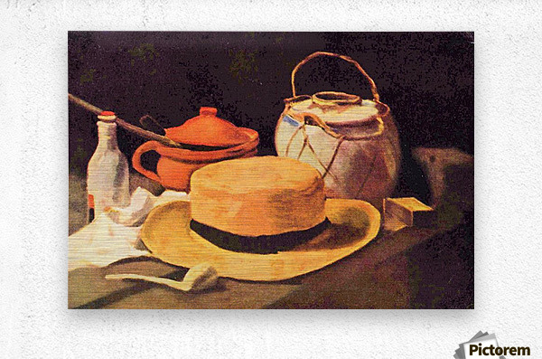 Still Life with Pipe and Straw Hat by Van Gogh  Metal print