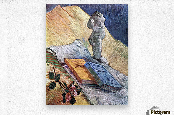Still Life with torso, a rose and two novels by Van Gogh  Metal print