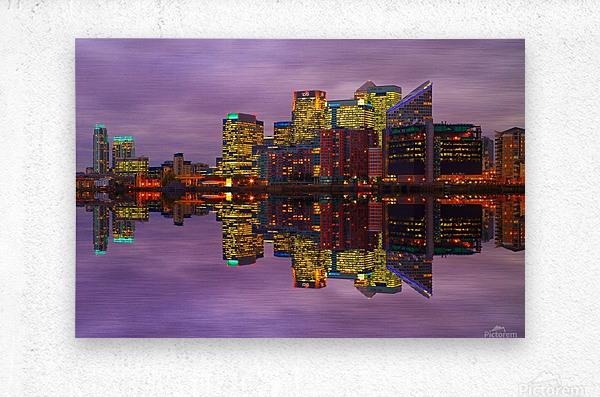 LON 008 Canary Wharf Reflection   Metal print