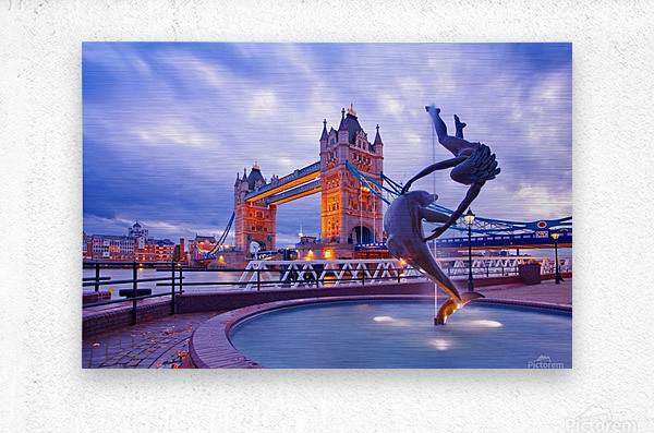 LON 014 Girl with  Dolphin and Tower Bridge  Metal print