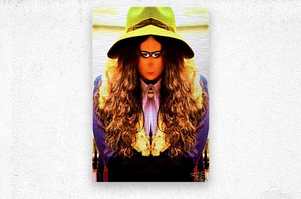 Giirl with the Green Hat -  by Neil Gairn Adams   Metal print
