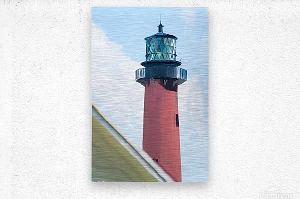 Jupiter Inlet Lighthouse Digital Painting Portrait 52 70 200px  Metal print