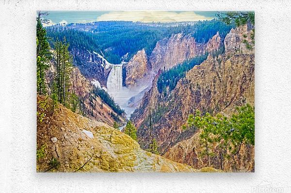 Yellowstone Falls Digital Painting Landscape 52 70 200px  Metal print