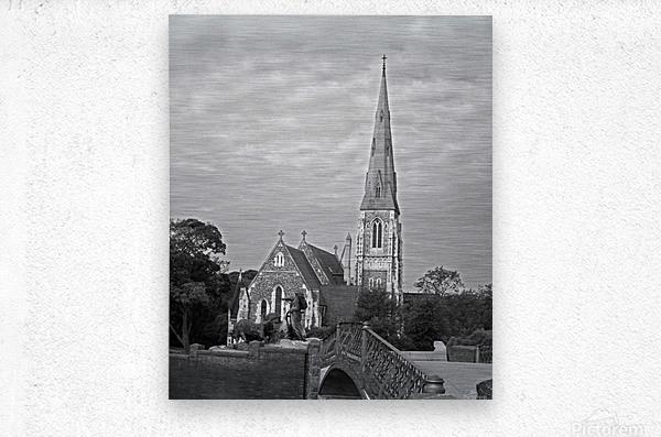 St. Albons Church B&W  Metal print