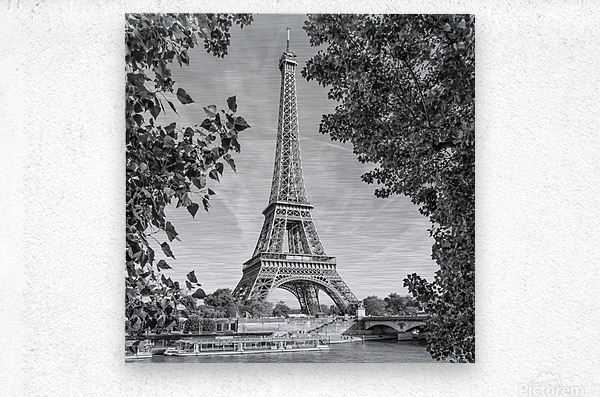 PARIS Eiffel Tower & River Seine   Monochrome  Metal print