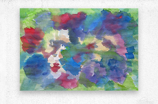 Watercolor abstraction with a blurred floral pattern  Metal print