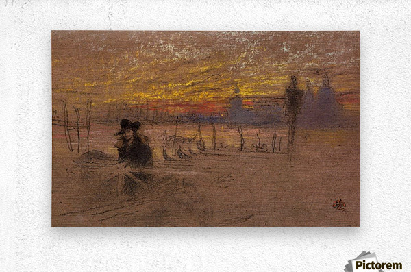 Sunset Red and Gold by Whistler  Metal print
