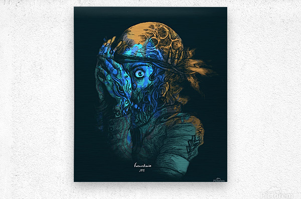 Theres a killer on the moon  Metal print