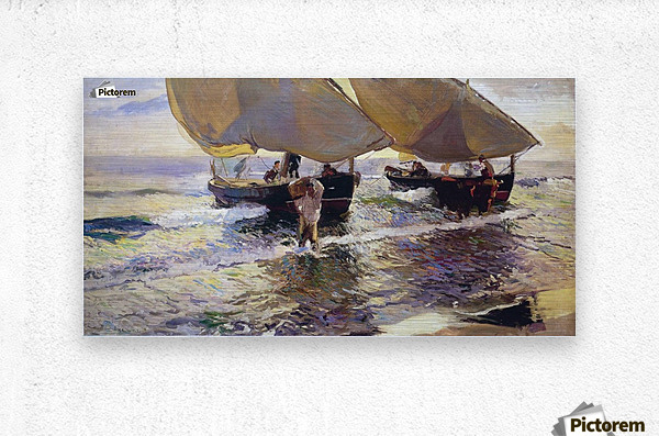The arrival of the boats  Metal print