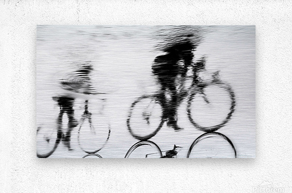 REFLECTED CYCLISTS  Metal print