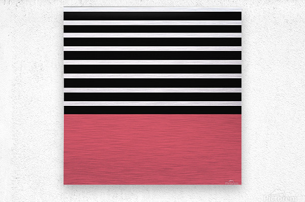 Black & White Stripes with Bitter Sweet Patch  Metal print