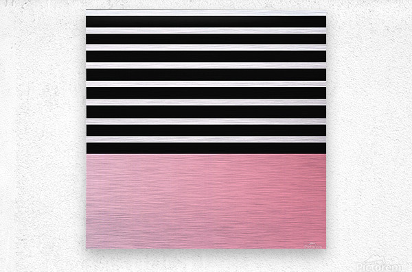 Black & White Stripes with Pink Gradient Patch  Metal print