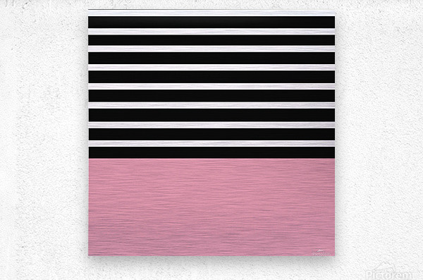 Black & White Stripes with Pacific Rose Patch  Metal print