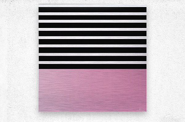 Black & White Stripes with Baby Pink Patch  Metal print