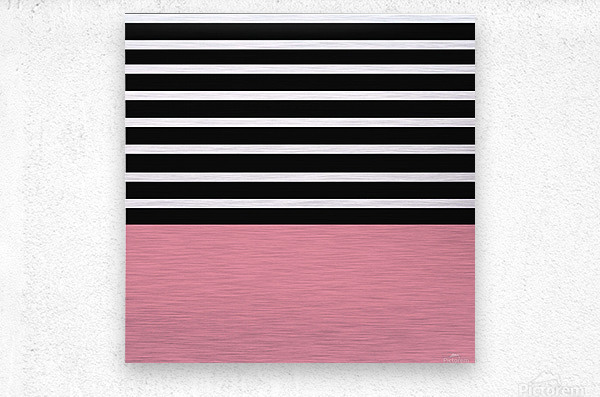 Black & White Stripes with Cherry Patch  Metal print