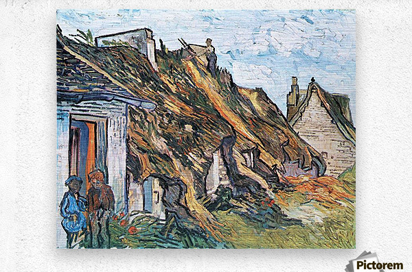 Thatched hut in Chaponval by Van Gogh  Metal print