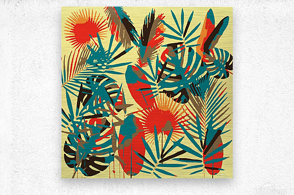 Colorful Abstract Tropical Leaves   Metal print