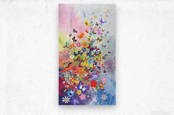 Butterflies and Flowers   Metal print