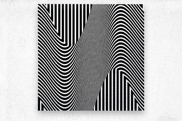 Black and White Abstract Geometric Design 1  Metal print