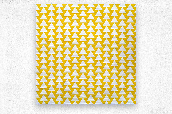 Yellow  White triangle  Metal print