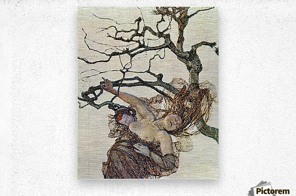 The bad mothers, detail  by Giovanni Segantini  Metal print