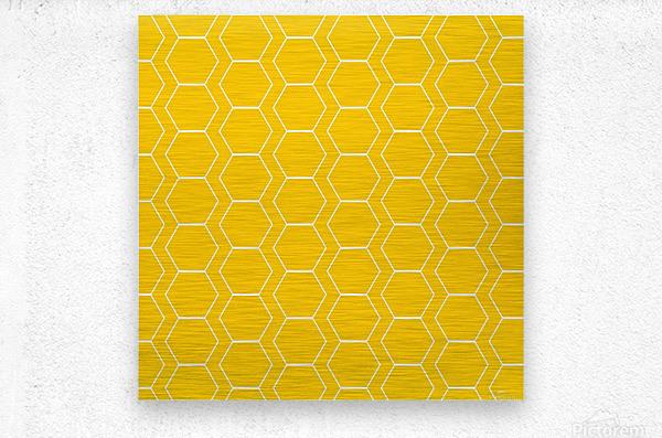 Yellow  White Hexagen  Metal print