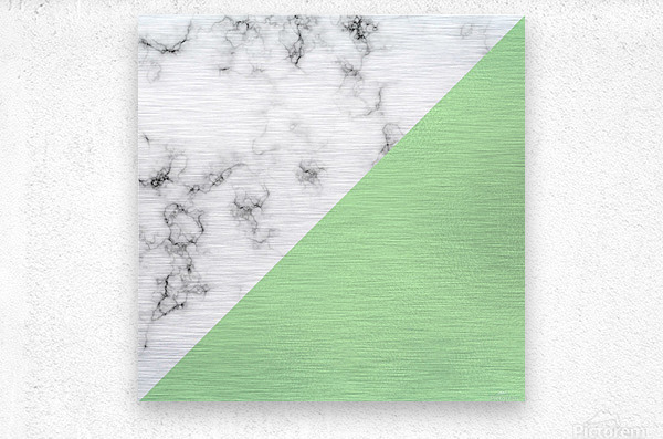 ABSTRACT MODERN GREEN GLASS MARBLE  Metal print